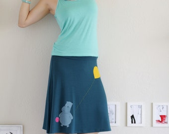 Lovely Skirts for Women, Heavy weight cotton skirts, Knit skirts, Knee Length A line Skirt . Teal Blue Jersey skirt - Happy hippopotamos