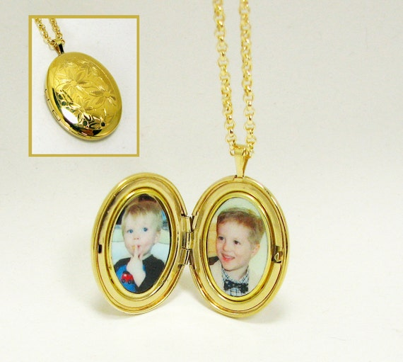 Locket  - Gold-Filled with a Floral engraving, Oval Locket that holds 2 Photos - LP11GF.