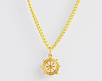 Delicate minimal nautical gold ship wheel charm necklace