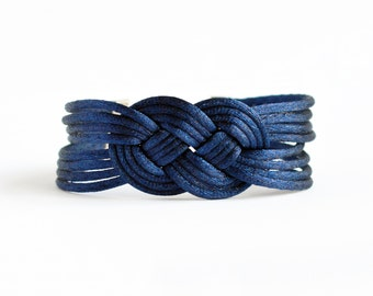 Shiny navy blue large double infinity knotted nautical rope bracelet