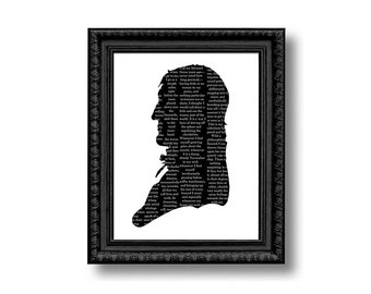 Moby Dick Nautical Silhouette Print Black and White Quotes Literature Beach House Decor