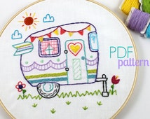 Retro Camper Summer Camp Travel Hand Embroidery PDF Pattern