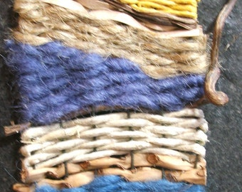 Miniature Woven Wall Hanging with Natural Materials by The Bent Tree Gallery SALE was 99.00