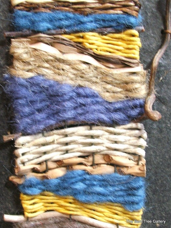 Items similar to miniature woven wall hanging with natural for Wall hanging with waste material