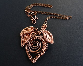 Flower Bud & Leaves Woven Copper Necklace Wire Wrapped
