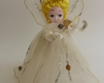 Rescued Vintage Sheer White Gossamere  Angel with Plastic Face and Mercury Glass Beads Ornament  H375