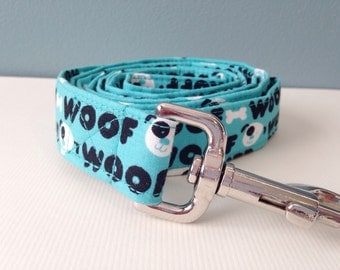 "Aqua Blue ""Woof"" Dog Leash"