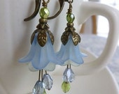 Flower Earrings with Light Blue and Pale Green Lucite Flowers, Czech Glass, and Antique Brass