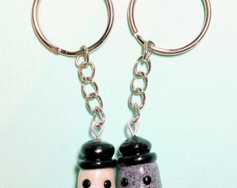 Best Friend Key Chains Salt and Pepper, Kawaii Charms, BFF Keychain, Matching Keychains, Best Friend Gift, Couples Gift