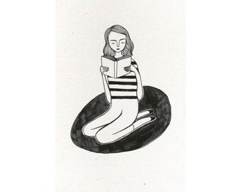 reading girl (4x6 print)