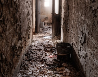 Hallway to the Ladies Room, Abandonded Asylum, Old House, Urban Exploration, Forgotten Places, Spooky Places, Color Photography Print