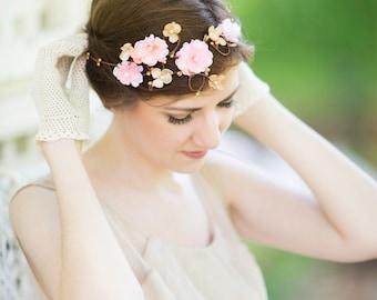 bridal hair accessories, blush pink flower circlet, hair vine, gold flower hair accessory, wedding headpiece, bridal headband -WISHFUL-