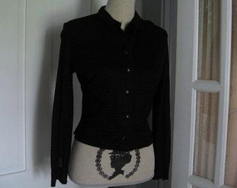 Vintage 1960's Black Polyester Blouse/Jacket