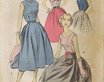 1950s Advance 8107 Vintage Sewing Pattern Misses Full Skirt, Sleeveless Blouse Size 14 Bust 34