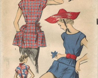 1950s Advance 5998 Vintage Sewing Pattern Misses Cobbler Apron Size Small, Size Medium