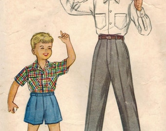 1950s McCall's 9695 Vintage Sewing Pattern Boys Slacks, Shorts, Shirt Size 10
