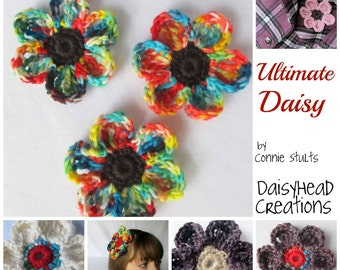 Crochet Flower Pattern- Ultimate Daisy- Large for pins, hair clips, bags, etc- Crochet Pattern ONLY