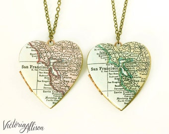 San Francisco Map Necklace, Large Vintage Heart Locket - Antique Map, Bay Area, Gift for Her, California Necklace, Map Jewelry, CA Locket
