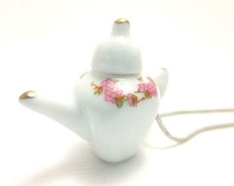 Pink Teapot Necklace, Miniature Food Jewelry, Polymer Clay Food Jewelry