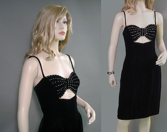 Vintage 70s Dress Black Velvet Rhinestone Mike Benet Bandeau Party Gown S