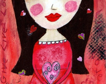Give Live Love - Big Eyes Art - Reproduction of Original Art Work by Jessi Designs