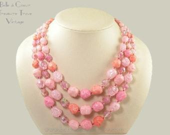 Vintage Multi Strand Pink Bead Necklace Western Germany