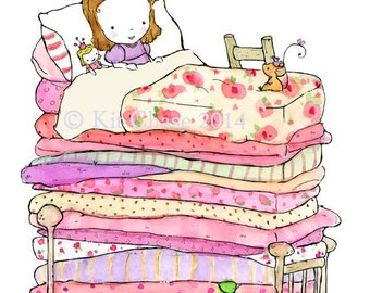 Children's Art -- The Princess And The Pea -- Archival Print