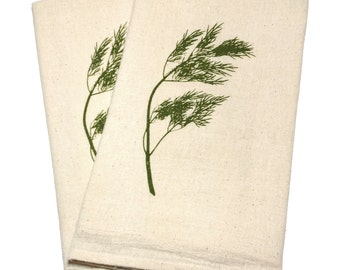 Pair of Flour Sack Cotton Napkins - Dill design in olive green