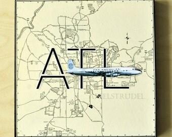 ARTWORK. Up in the Air Series. ATL. Hartsfield Jackson International Airport, Atlanta, Georgia. MapArt