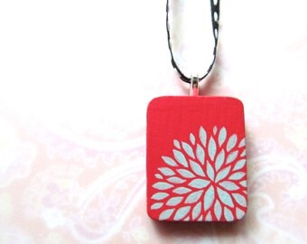 Handpainted Pendant - Petal Burst in Watermelon and Ice Blue