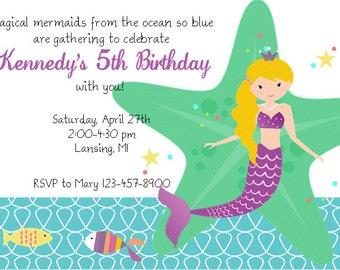 Mermaid Printable Invitation PDF Purple Under the Sea