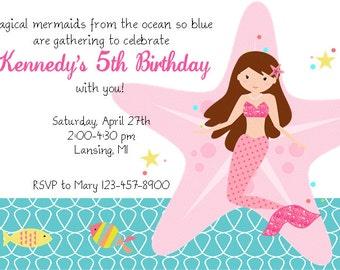Mermaid Printable Invitation PDF Pink Under the Sea Brown Hair