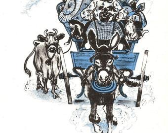 Farm Wagon Print - Cat Print - Vintage Children's Blue Story Book Page, Animal Wall Art - Farmhouse - Granny's Wagon - Farm Animals - 1980