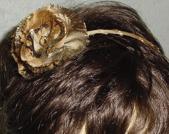 Silk Plaid Earthtone Headband with Flower Ready to Ship