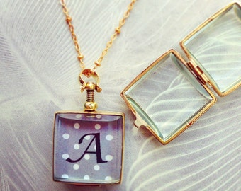 Initial locket necklace, personalized initial, monogram necklace, custom color, square oval glass locket, gift for her, personalized gift