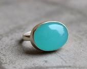 Aqua Blue Chalcedony ring jewelry - Bezel set - mint green - Gemstone ring - Christmas gift ideas