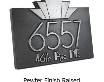 "Horizontal Moderne Art Deco Address Numbers Plaque 14"" W x10.5"" H   Made in USA by Atlas Signs and Plaques"