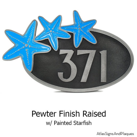 Starfish Oval Home Numbers Address Plaque 19x11.5x1 inches Custom and made in the USA