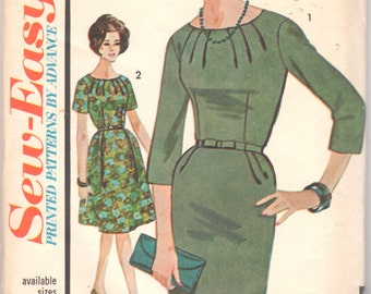 Advance 3296 1960s Half Size Dress Pattern Slim or Flared Skirt Starburst Neckline Womens Vintage Sewing Pattern  Size 18 1/2 Bust 39 UNCUT