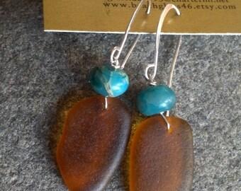 Sweet Amber Orange Lake Superior Beach Glass Earrings w Turquoise bead
