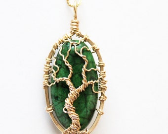 Gold and Green Jasper Tree - Gold Tree of Life - Green and Gold Tree -