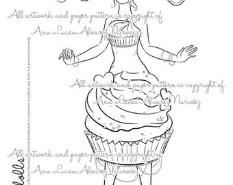 Digital Stamp - coloring page Sweet dolls - Cupcake girl