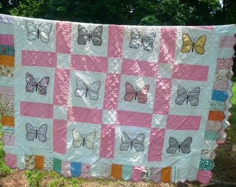 Handmade Quilt Butterfly Patchwork Quilt Baby Toddler Bed Quilt Appique Twin Double Bed e