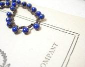 Lapis bracelet bohemian crochet navy blue brass pamelasjewelry