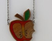Illustrated Bitten Apple Necklace - Eco Handcrafted Wood