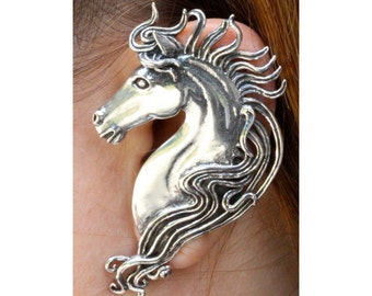 Horse Ear Wrap - Horse Ear Cuff - Horse Jewelry - Sterling Silver Horse - Horse Earring Spirit Horse Ear Wrap Animal Jewelry Statement Piece
