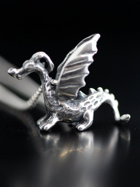Dragon Necklace Silver - Baby Dragon Charm Dragon Pendant - Dragon Jewelry Silver Dragon - Game of Thrones Inspired Jewelry - Baby Dragon
