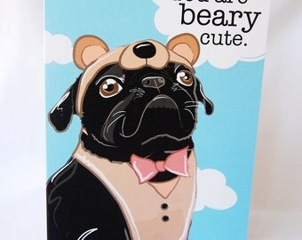 Black Pug Bear Greeting Card