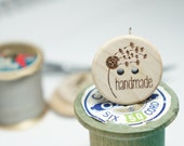 """1"""" Wooden Buttons """"handmade"""" with dandelion- Set of  10"""