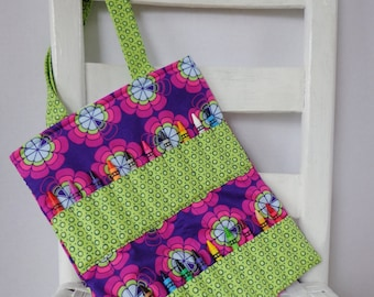 Purple and Lime Geometric Crayon Bag Heaven and Helsinki Girls Birthday Gift CRayon Roll Kids Art Bag Coloring Tote Childs Travel